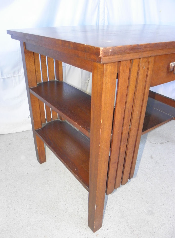 office chair height cushions for outdoor lounge chairs bargain john's antiques | antique mission oak library table small desk with bookshelf on ends ...