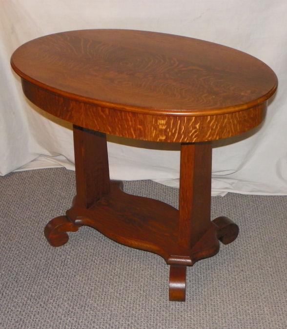 Bargain Johns Antiques  Antique Oak Oval Library Table Desk  Bargain Johns Antiques