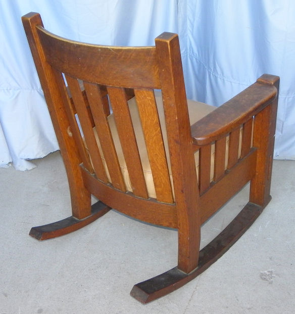 steel chair accessories 1800 antique barber bargain john's antiques   mission oak rocking made by harden -