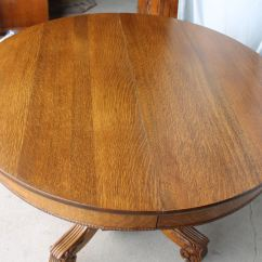 Unique Office Chair Foot Massage Bargain John's Antiques | Antique Round Oak Dining Table - 45 Inches Diameter With Three Leaves ...