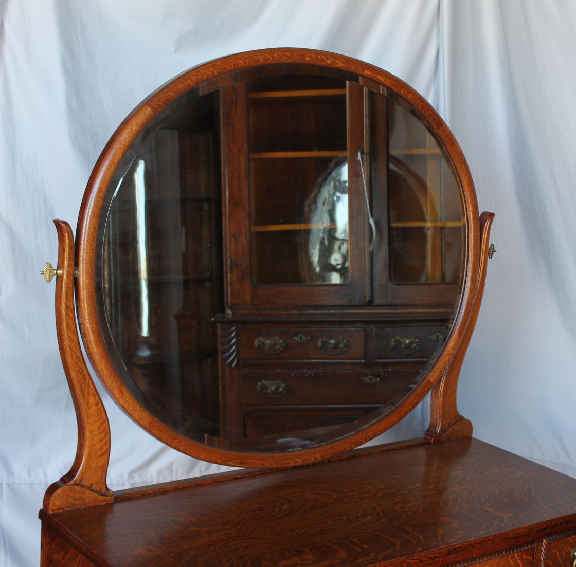 Bargain Johns Antiques  Antique Oak Vanity with Oval