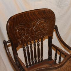 Solid Oak Pressed Back Chairs That Pull Out Into Beds Bargain John's Antiques | Antique Folding Up And Down Child's High Chair Stroller ...