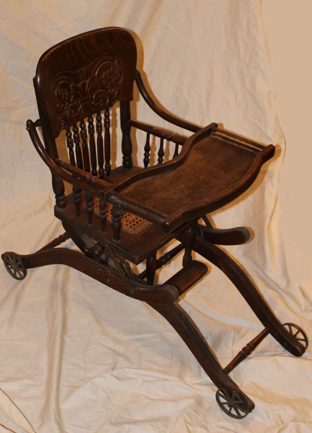 antique sewing chair ethan allen queen anne dining chairs bargain john's antiques | oak folding up and down child's high stroller ...