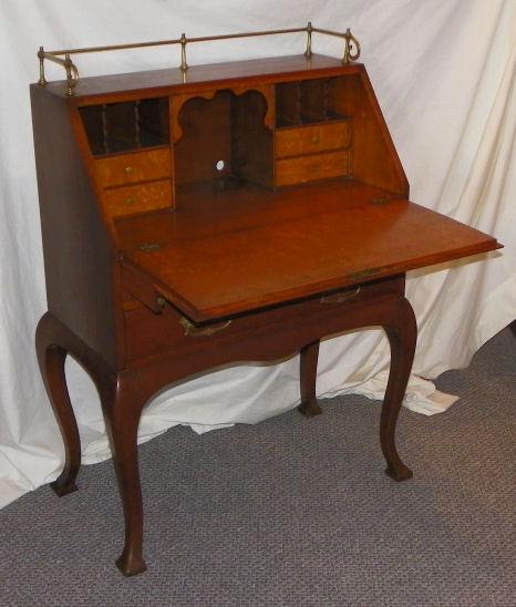 Bargain Johns Antiques  Antique Carved Oak drop front