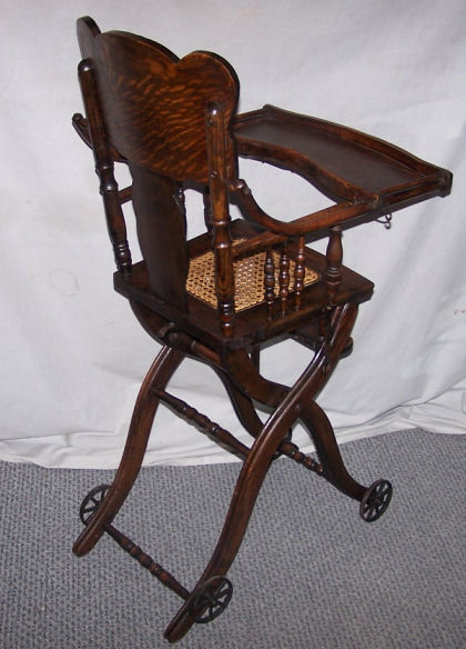 folding chair for child uline chairs bargain john's antiques | antique oak up and down childs high - ...