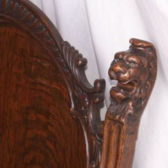 Office Chair Very Outdoor Wood Rocking Bargain John's Antiques | Antique Oak Parlor Set With Carved Lion Heads - Bench, Arm ...
