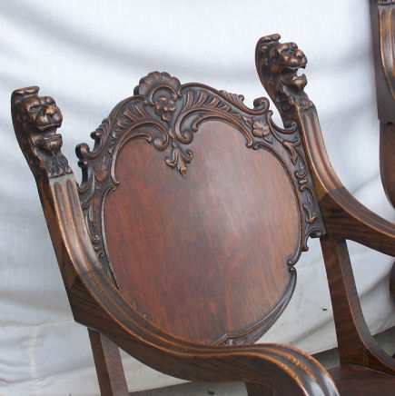 antique rocking chair cover hire in kent bargain john's antiques | oak parlor set with carved lion heads - bench, arm ...