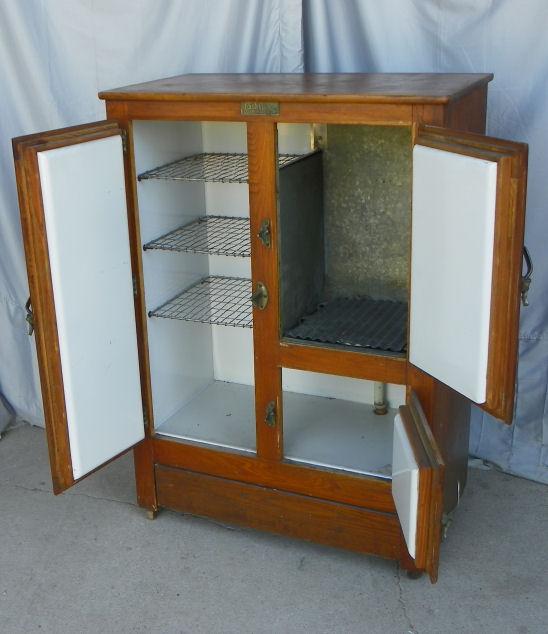 Bargain Johns Antiques  Antique Oak Ice Box  porcelain