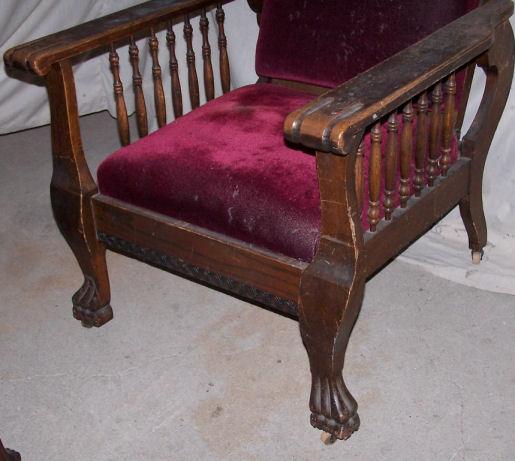 Bargain Johns Antiques  Antique Oak Morris Chair  claw