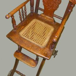 High Chair For Dolls Gripper Pads Bargain John's Antiques | Antique Oak And Stroller Combination - ...