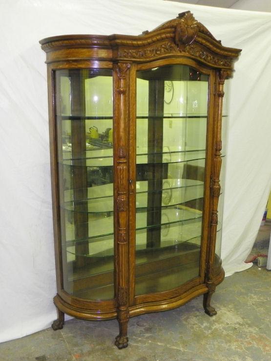 Bargain Johns Antiques  Antique Large Oak Curved Glass