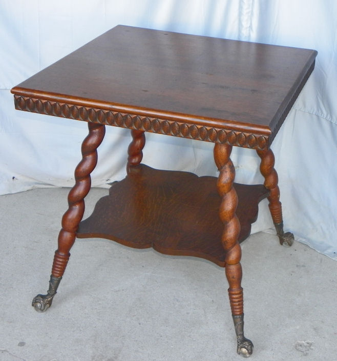 barley twist chair wholesale wedding covers discount code bargain john's antiques | antique oak parlor table with claw ball feet. -