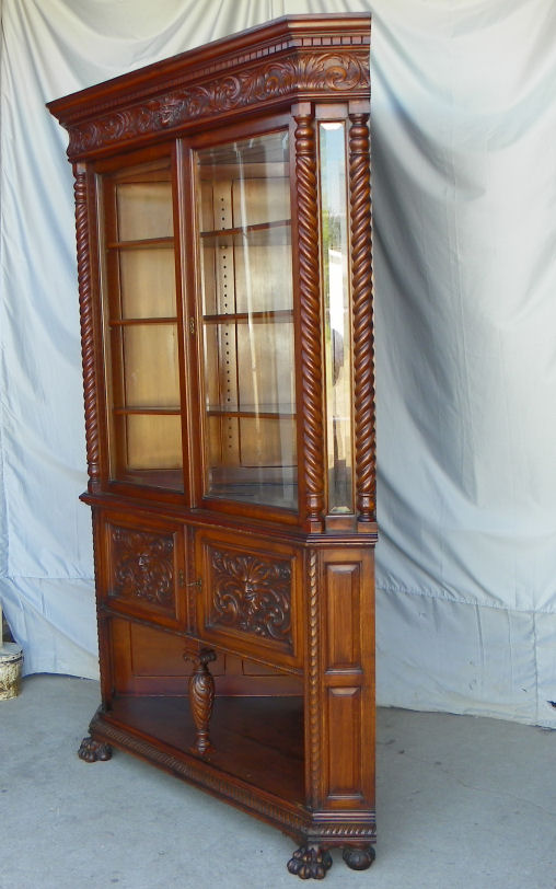 Bargain Johns Antiques  Antique Victorian Quartered Oak Corner China Cabinet  Bargain Johns