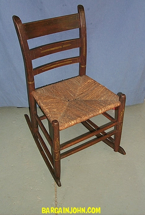 chair steel legs home depot beach chairs bargain john's antiques | sewing rocker stencil & rush seat wood rocking - ...