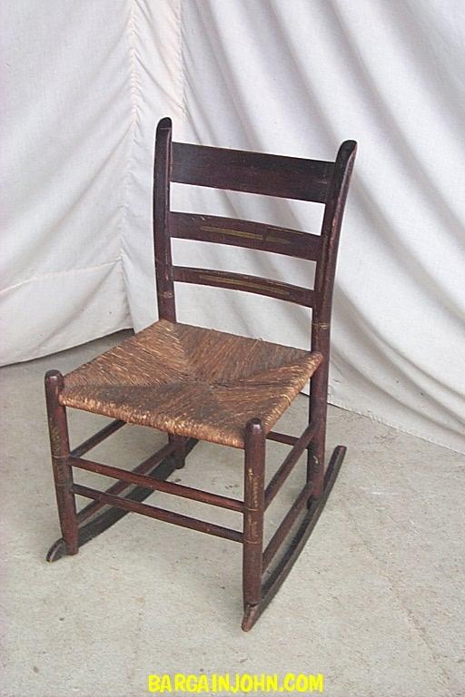 antique sewing chair desk pad bargain john s antiques rocker stencil rush seat wood rocking