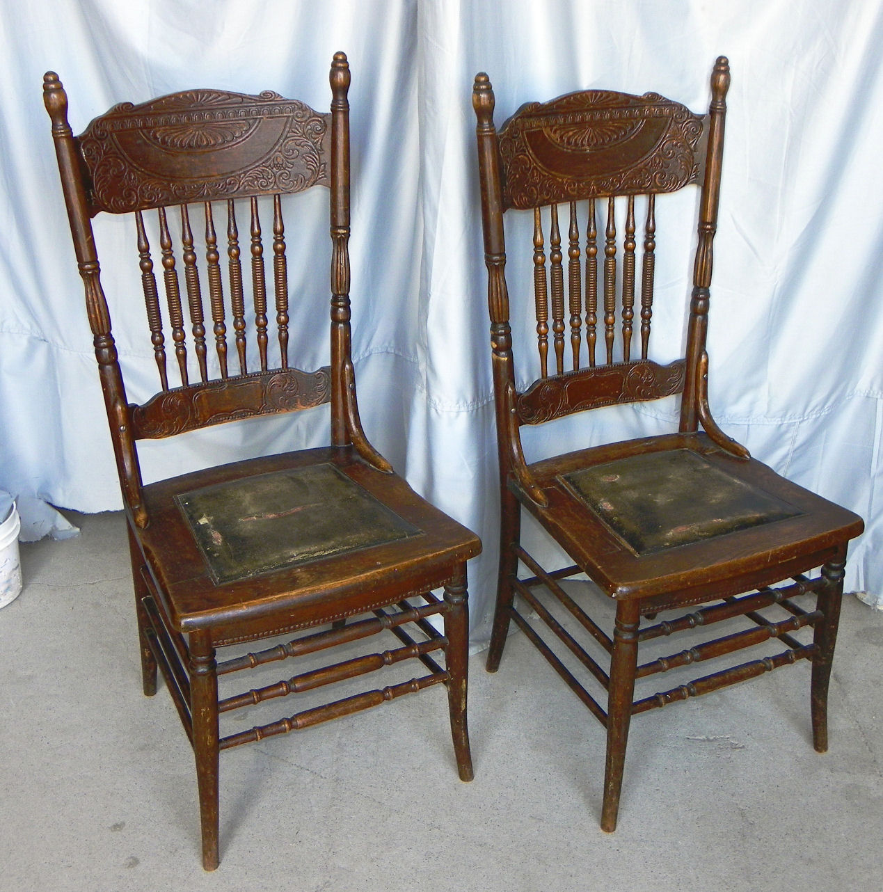 set of chairs racer computer chair bargain john 39s antiques antique four oak pressed