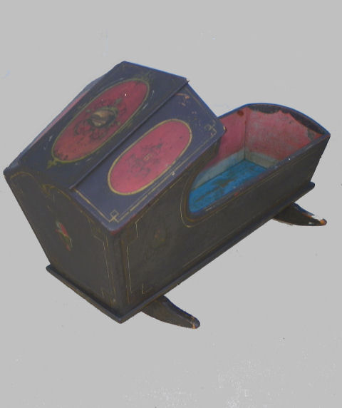 baby rocker chair french provincial bargain john's antiques | antique primitive wood painted cradle with bonnet overhead ...