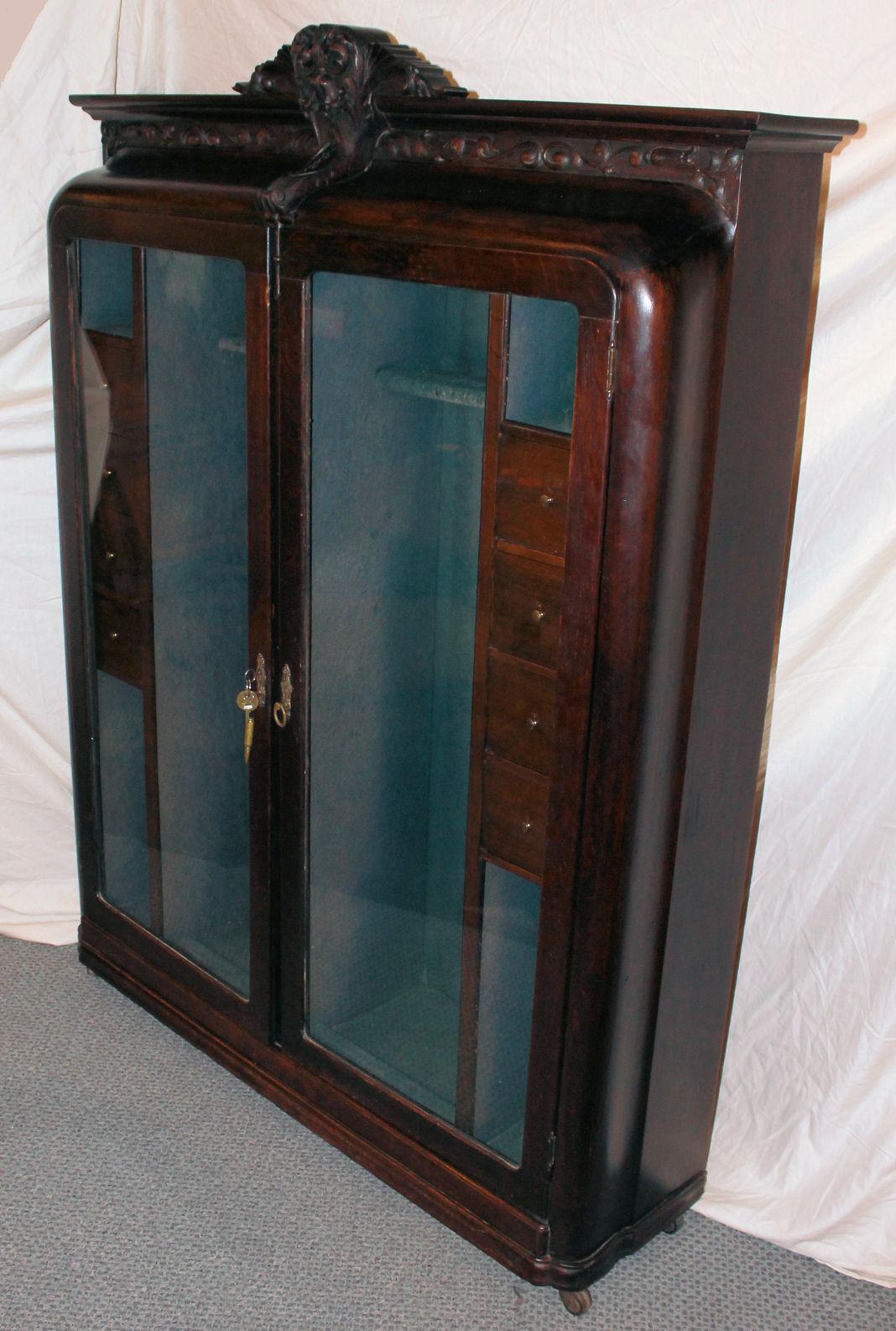 Bargain Johns Antiques  Rare Oak Antique Gun Cabinet