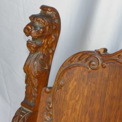 Wood Office Chair Chairs On Casters Bargain John's Antiques   Antique Lion Head Oak Throne -