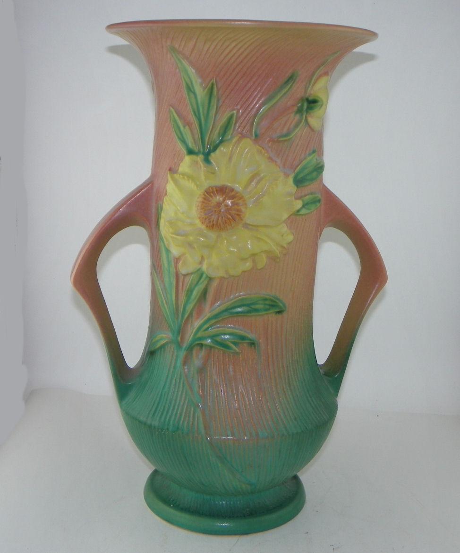 Bargain Johns Antiques  Blog Archive Peony Roseville Pottery Double Handled Vase  Bargain