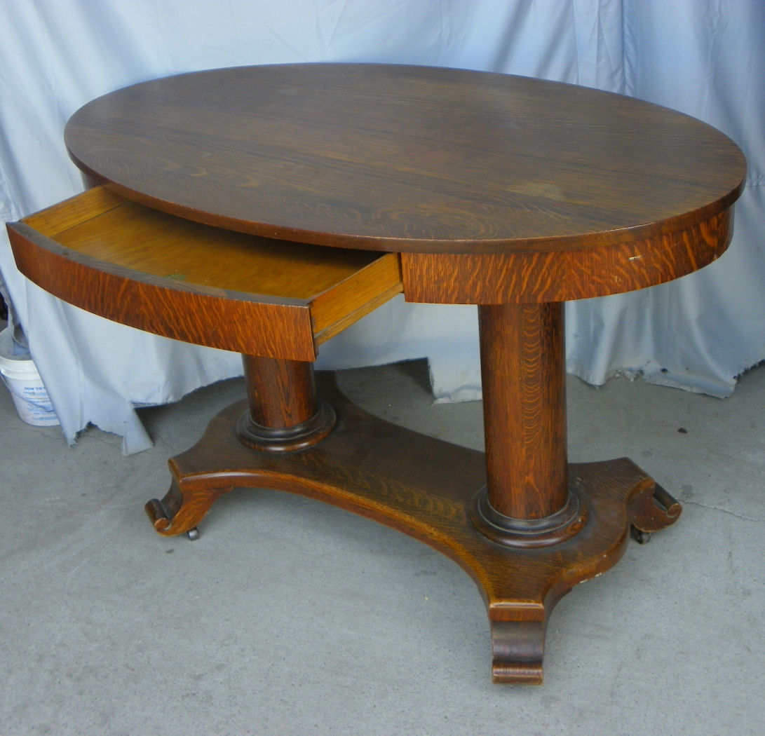 Bargain Johns Antiques  Antique Oval Library Table