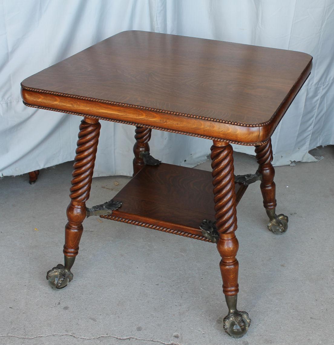 Bargain Johns Antiques  Antique Oak Lamp Table with
