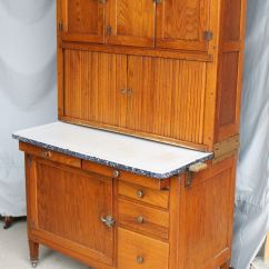 Glass Door Kitchen Cabinet Best Countertops Bargain John's Antiques | Oak Hoosier ...