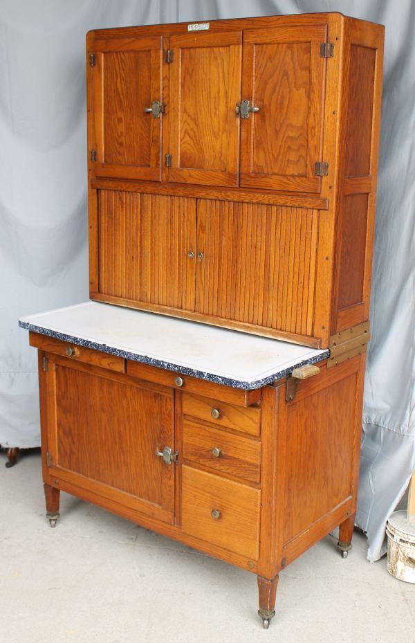 Bargain John' Antiques Oak Hoosier Kitchen Cabinet