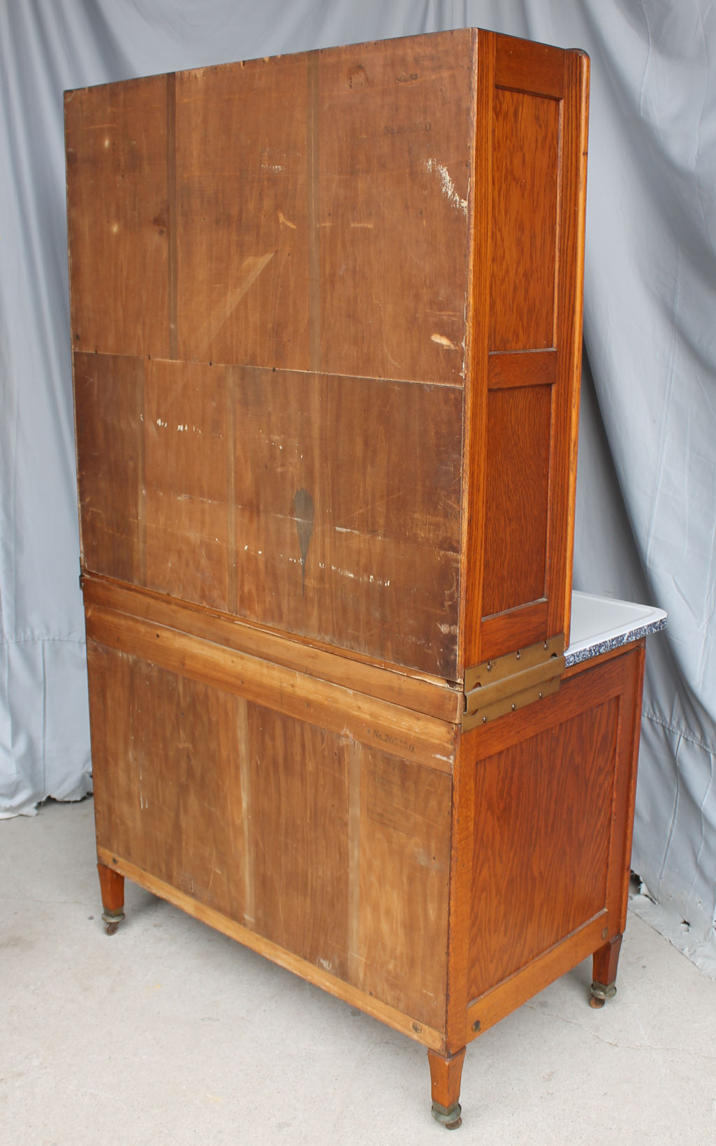 Bargain Johns Antiques  Oak Hoosier Kitchen Cabinet