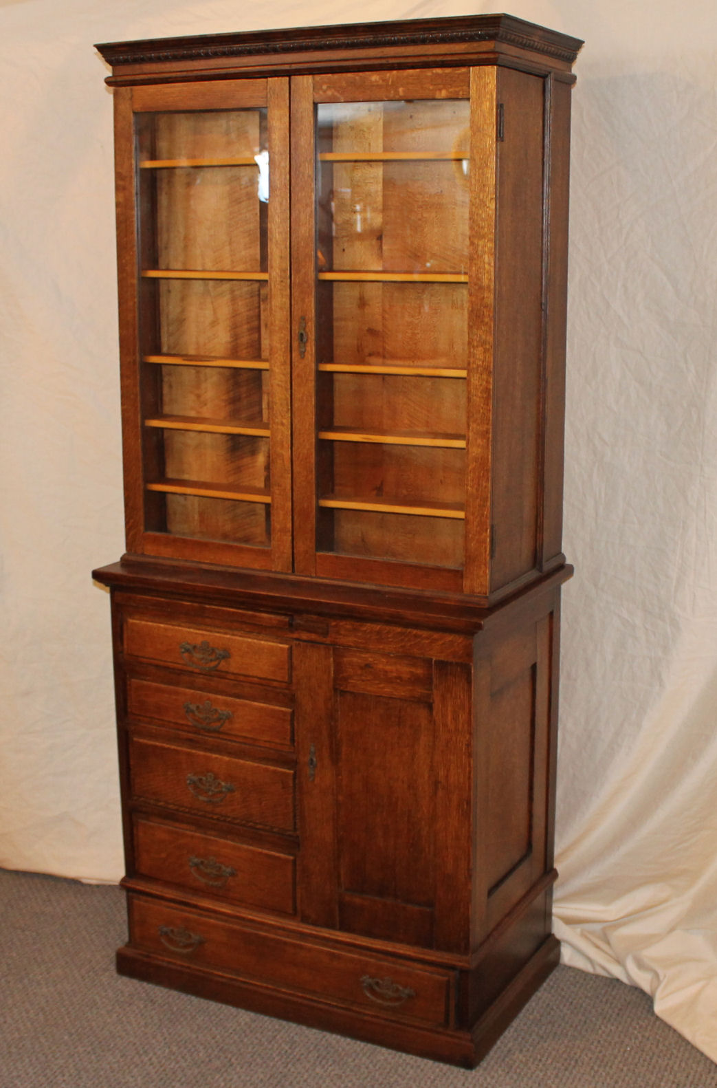 Bargain Johns Antiques  Antique Oak Doctor Medical Cabinet made by Frank Betz of Hammond