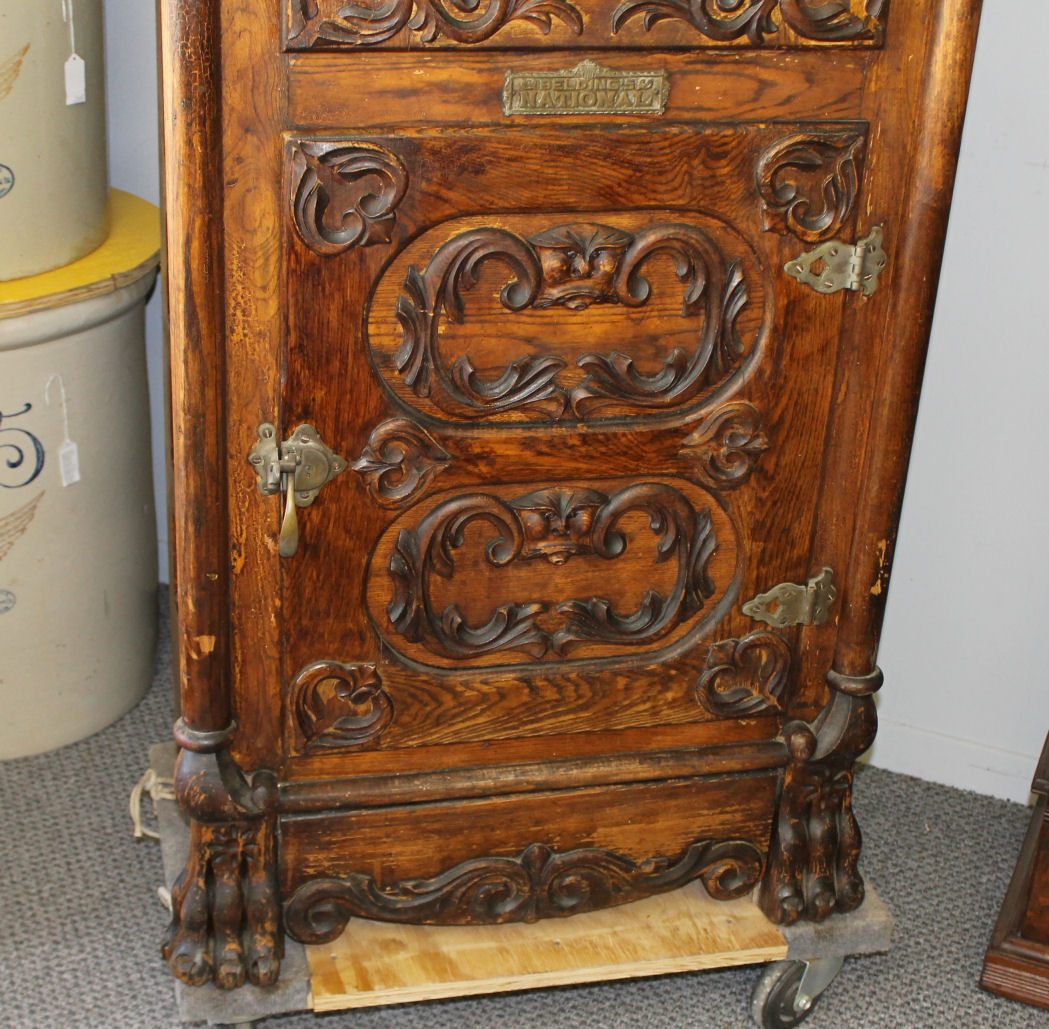 Bargain Johns Antiques  Fancy Wood Ice Box with beveled