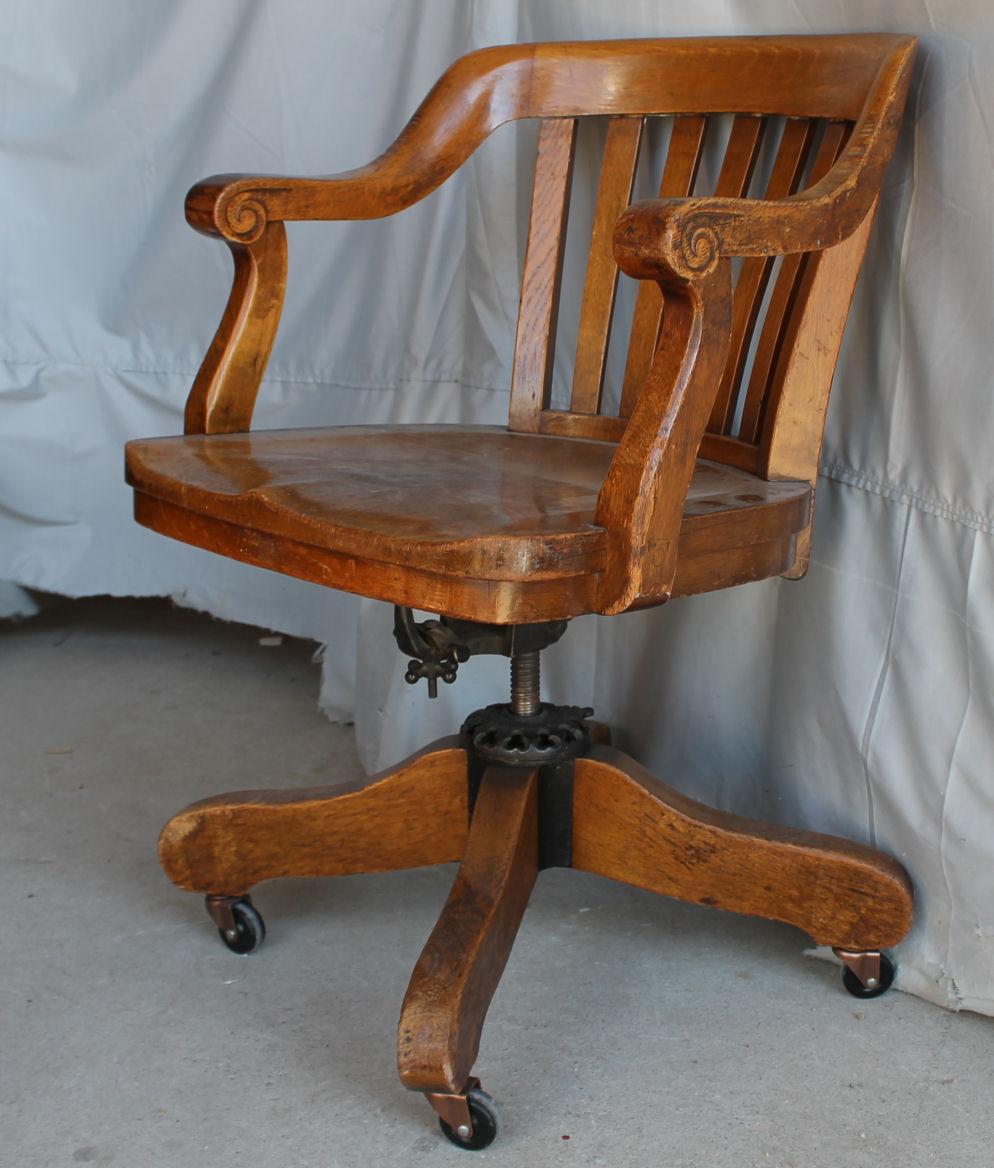 Bargain Johns Antiques  Antique Oak swivel Office Chair