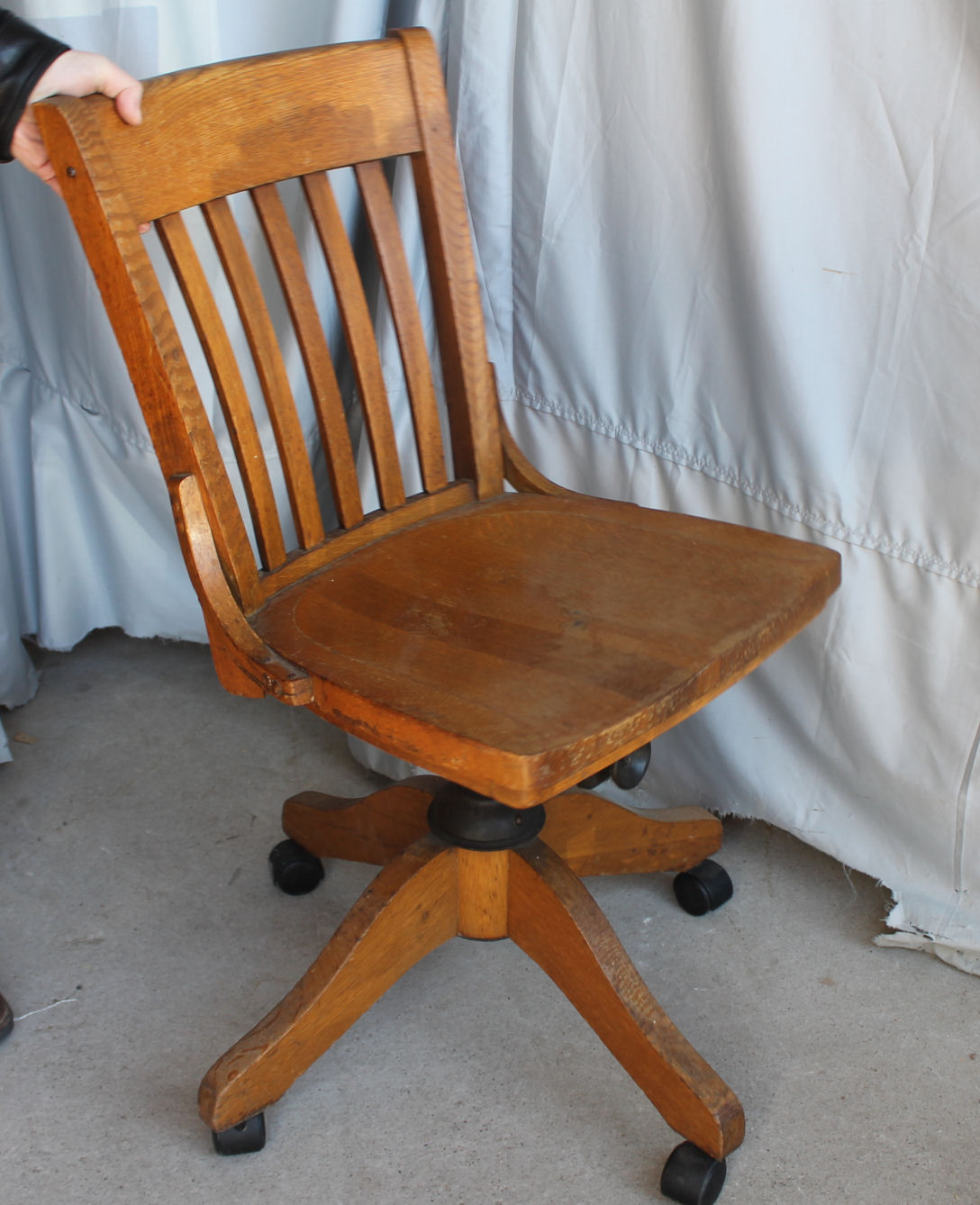fancy office chairs farmhouse christmas chair covers bargain john's antiques | antique oak swivel -