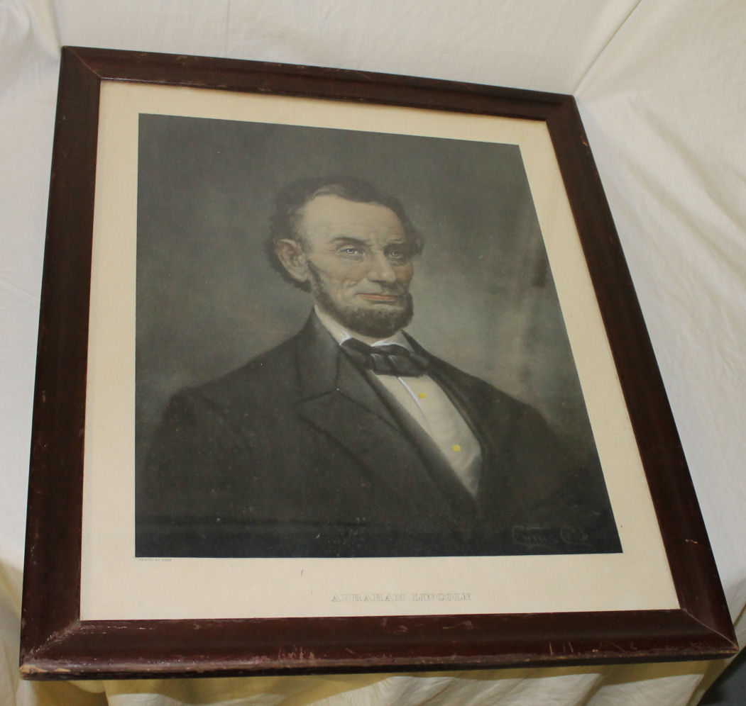 antique sewing chair folding cushions bargain john's antiques | portrait of president abraham lincoln print painted by cobb - ...
