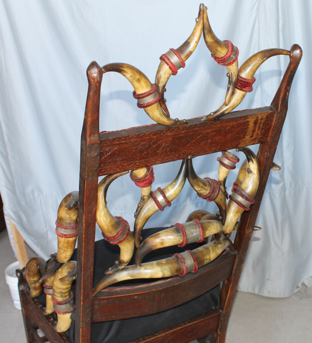 Bargain Johns Antiques  Cow Horn Oak Rocking Chair