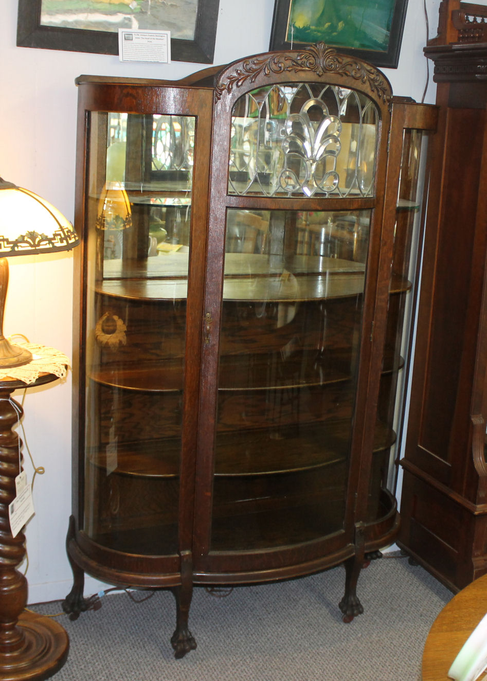 Bargain Johns Antiques  Blog Archive Oak China Cabinet with Beveled leaded glass window
