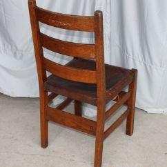 Antique Rocking Chair Leather Seat Paisley Accent Bargain John's Antiques   Gustav Stickley Oak Side - Ladder Back