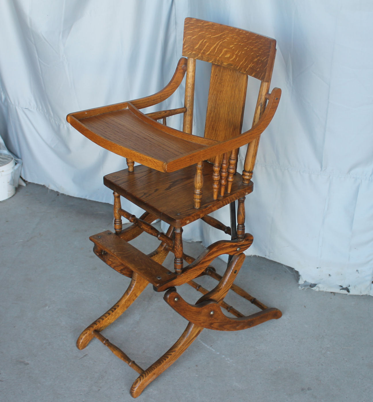 Bargain Johns Antiques  Oak collapsible High Chair Up
