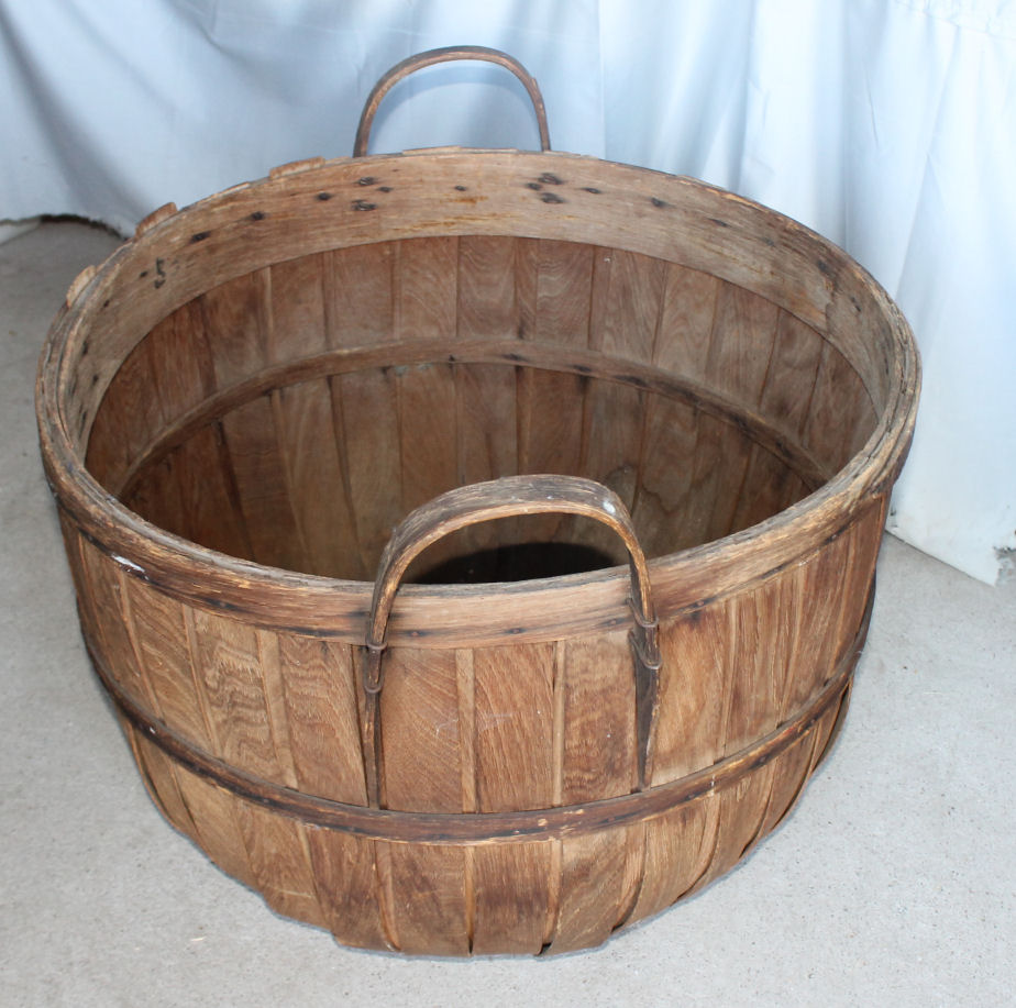 Bargain Johns Antiques  Hickory bentwood Bushel Apple Basket  Bargain Johns Antiques