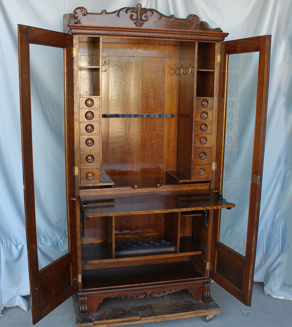 Bargain Johns Antiques  Antique Oak Gun Cabinet