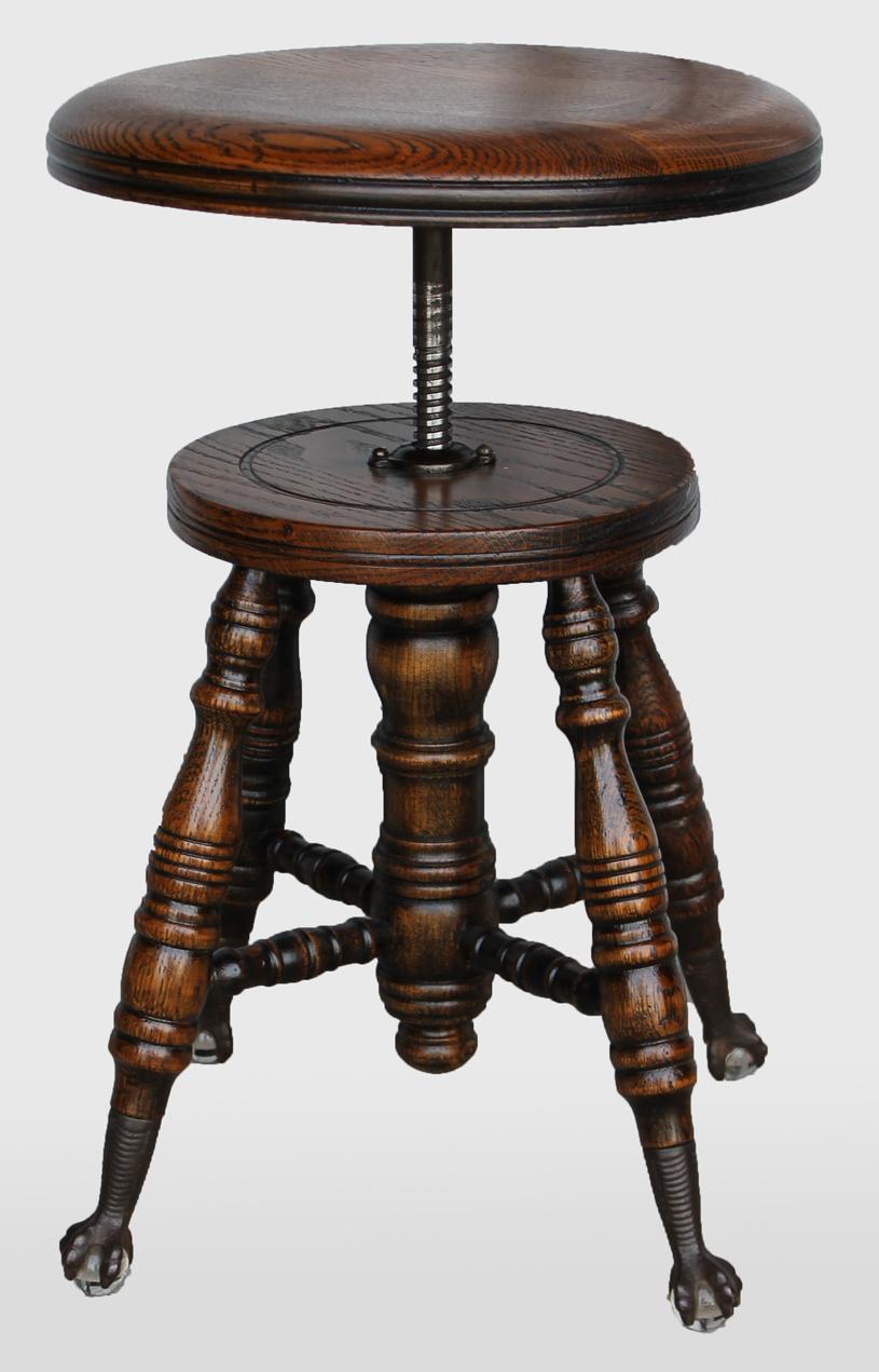 Bargain Johns Antiques  Antique Oak Piano Stool Claw