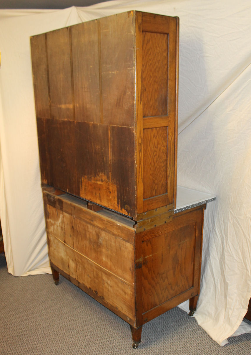 Bargain Johns Antiques  Oak Hoosier Kitchen Cabinet