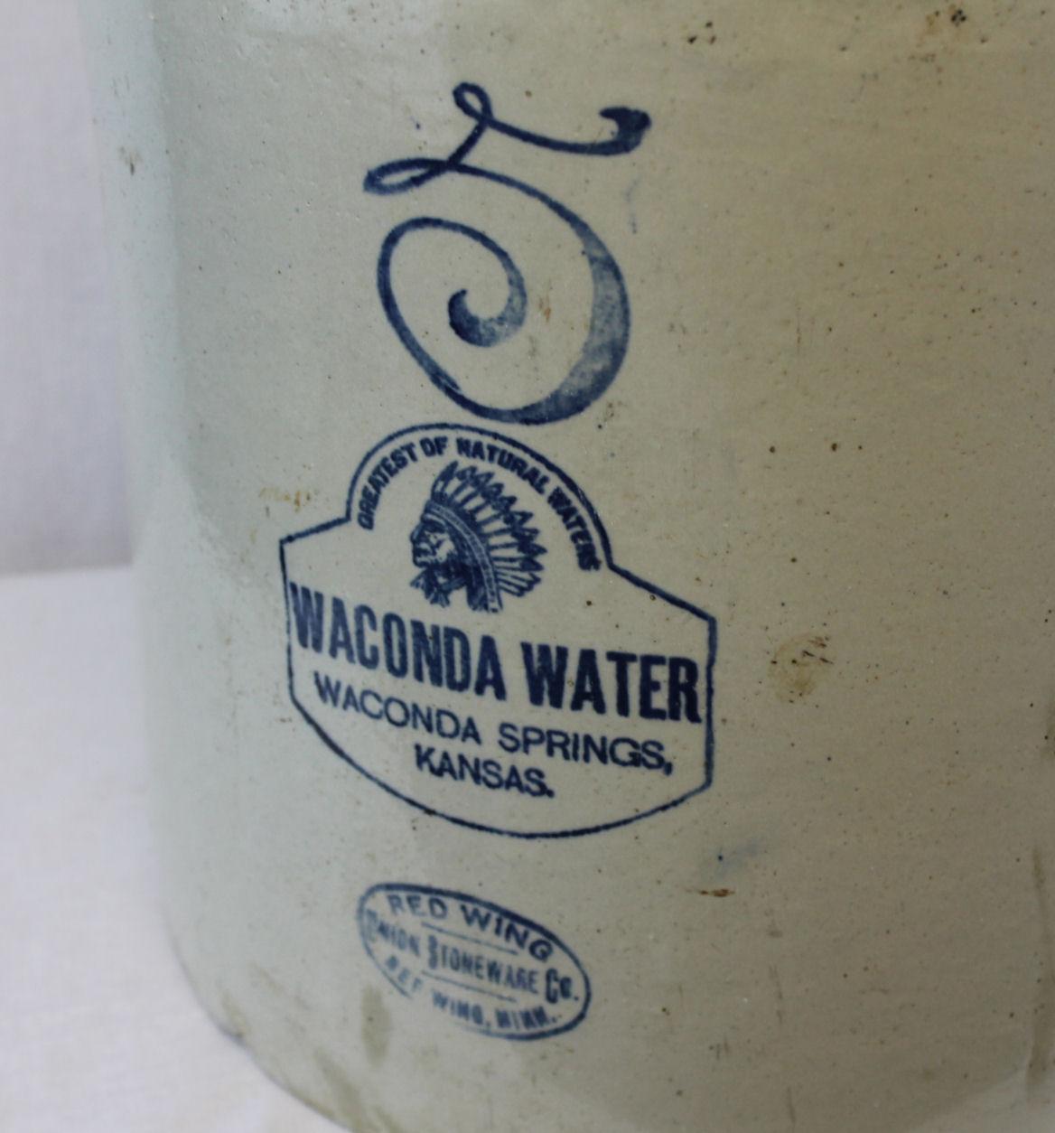 Bargain Johns Antiques  Red Wing Jug 5 gallon Waconda