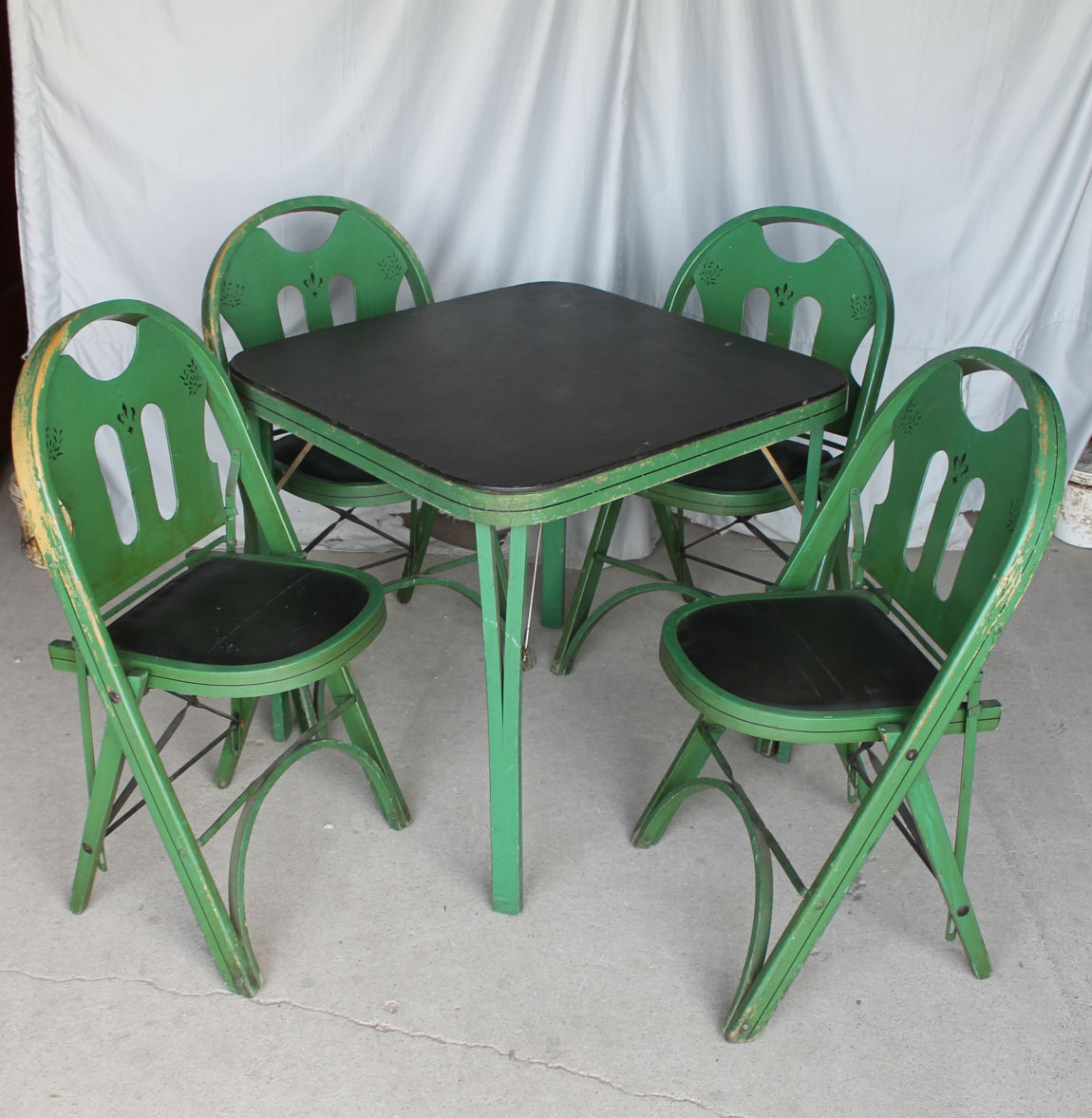 Bargain Johns Antiques  Folding Card Table Set with four