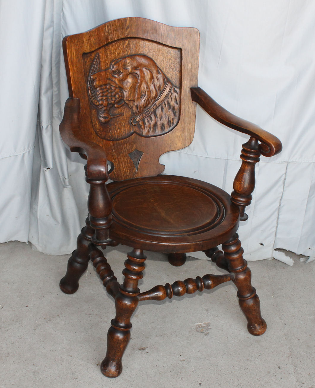 chairs for dogs porch swing chair bargain john 39s antiques oak carved back of