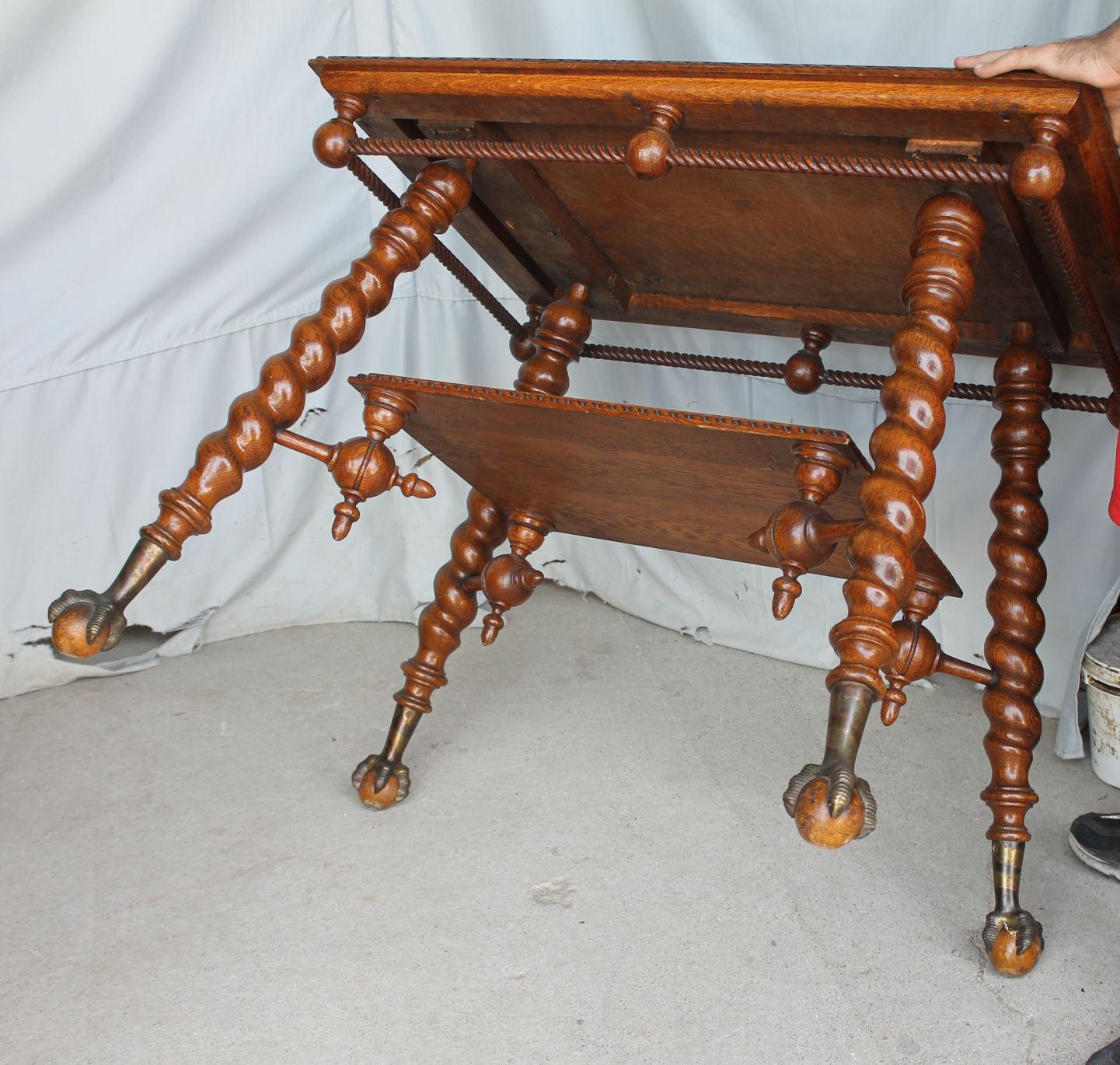 Bargain Johns Antiques  Antique Oak Parlor Lamp Table