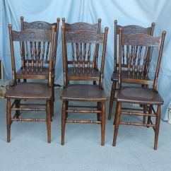 Solid Oak Pressed Back Chairs Target Toddler Potty Bargain John 39s Antiques Antique Set Of Six Matching