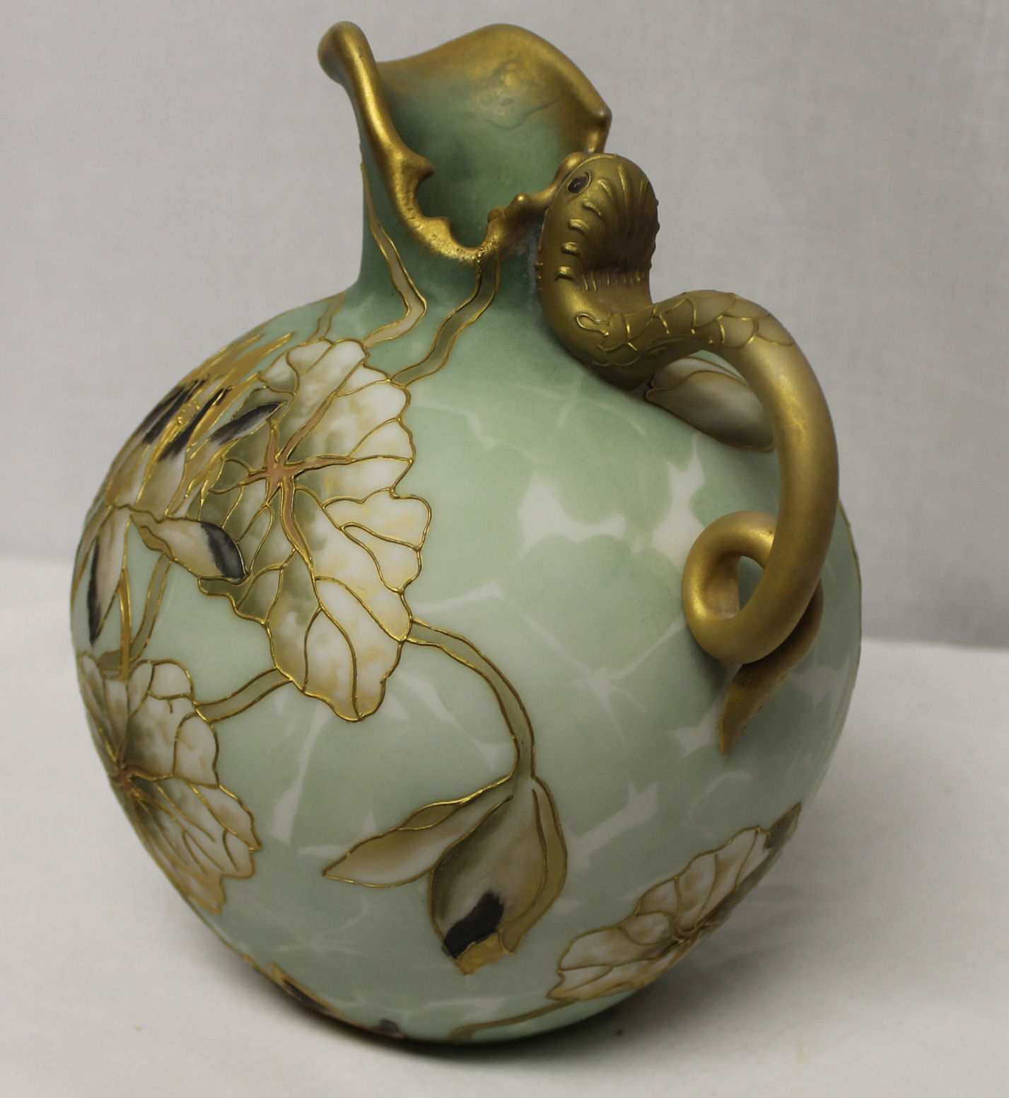 Bargain Johns Antiques  Bulbous Ewer with snake handle