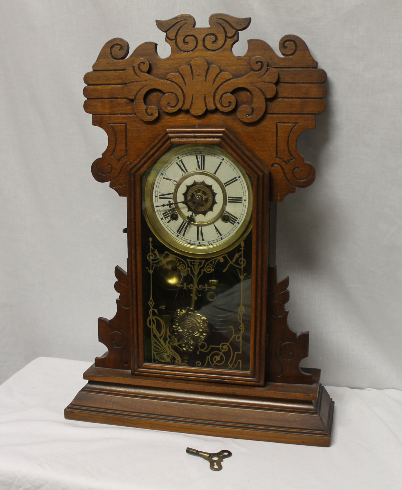 wooden kitchen clock hinges bargain john s antiques antique walnut waterbury