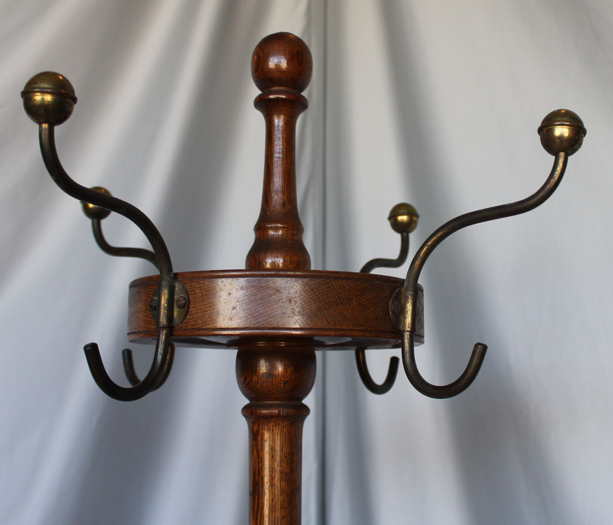 Bargain Johns Antiques  Oak Hall tree coat rack  brass